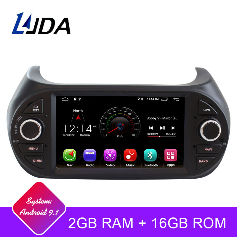 Autoradio LJDA 1 din Android 9.1 autoradio multimédia pour Fiat Fiorino Qubo citroën Nemo Peugeot Bipper WIFI IPS GPS Navigation