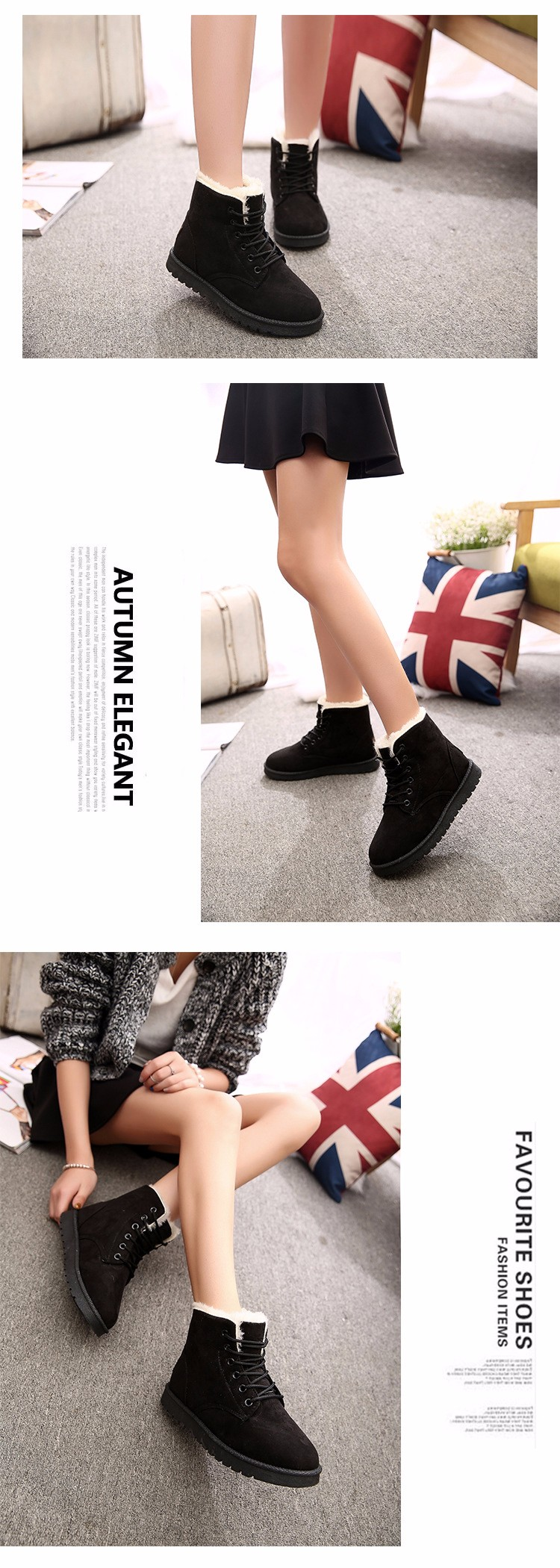 2016 Winter Woman Boots Lace-up Solid Flat Ankle Boots Casual Round Toe Woman Shoes Fashion Warm Plus Cotton Shoes ST903 (3)
