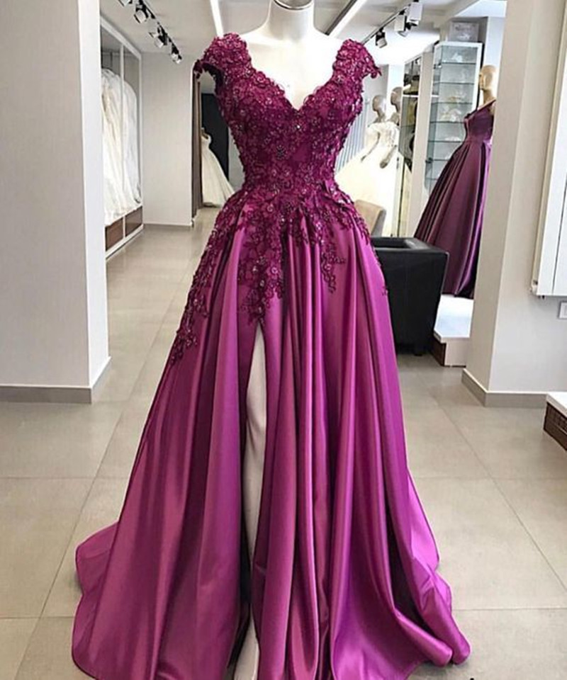 Ansovis Elegant Purple Mother of the Bride Dress Lace Appliques Beaded Mother Dress High Split Wedding Party Guest Groom Gowns