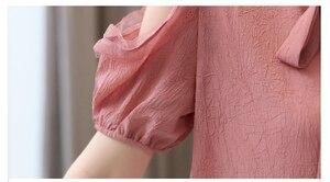Image 5 - Blusa de chifón de manga corta para verano, Camisa de gasa para mujer, 2019