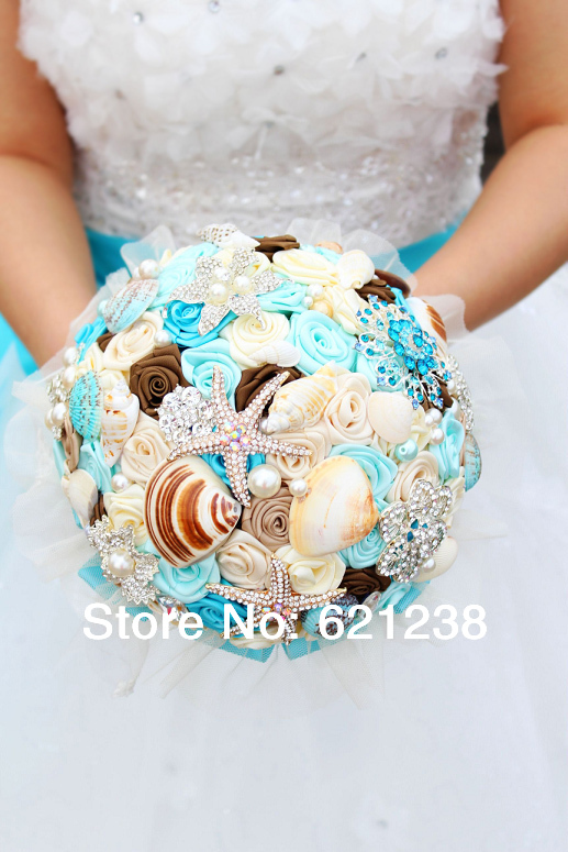 Wedding Flowers For Beach Theme : Inch blue shell brooch bouquet handmade ocean theme