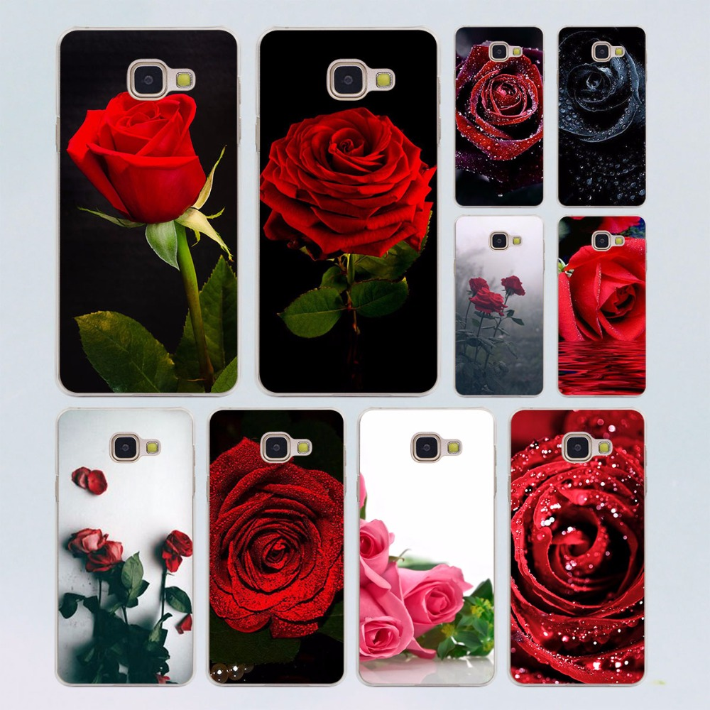 Red Rose Flowers HD Wallpaper design transparent clear hard case cover for Samsung Galaxy A3 A5(2016) A7 A7 A7(2017) A8 A9