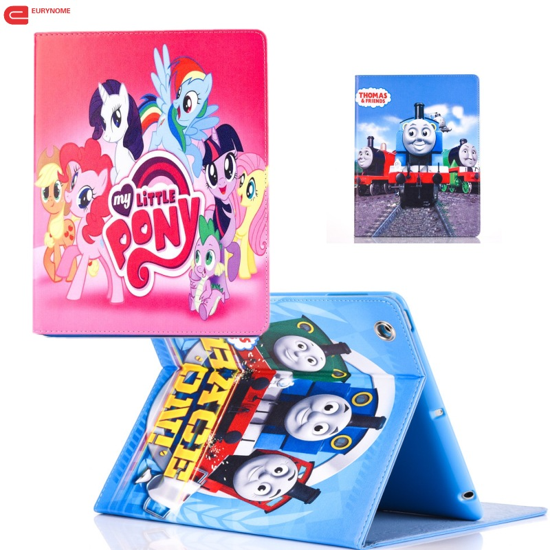 Fashion Movie My Little Pony and Thomas Pu leather stand holder Cover Case For ipad mini 4 for iPAD mini4 with screen protector