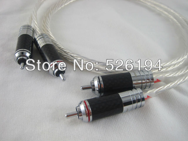 Free shipping Pair Acrolink pure copper OCC Silver-plated Interconnect Cable With Rhodium Carbon Fiber RCA Conductors  mps x 99r 99 99997%occ 6n occ silver plate 4k rhodium plated plug rca audio cable dvd cd dac amplifier cable 1 pair 2 cable
