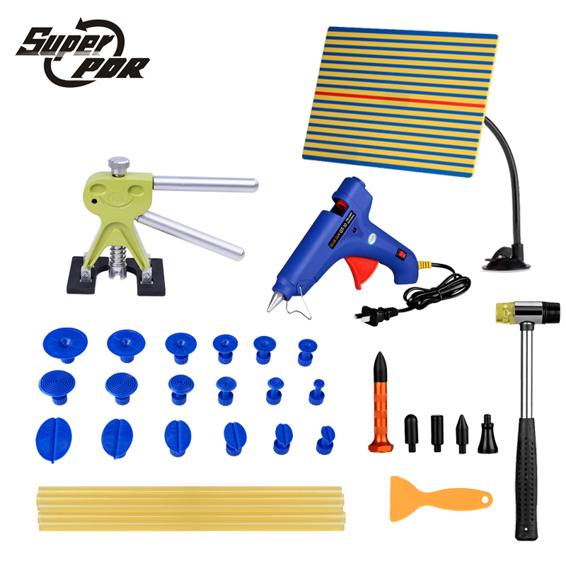 Super PDR Paintless Car Dent Repair Tools light Reflector board glue Puller glue gun dent tabs 29pcs dent removal tools kit цена