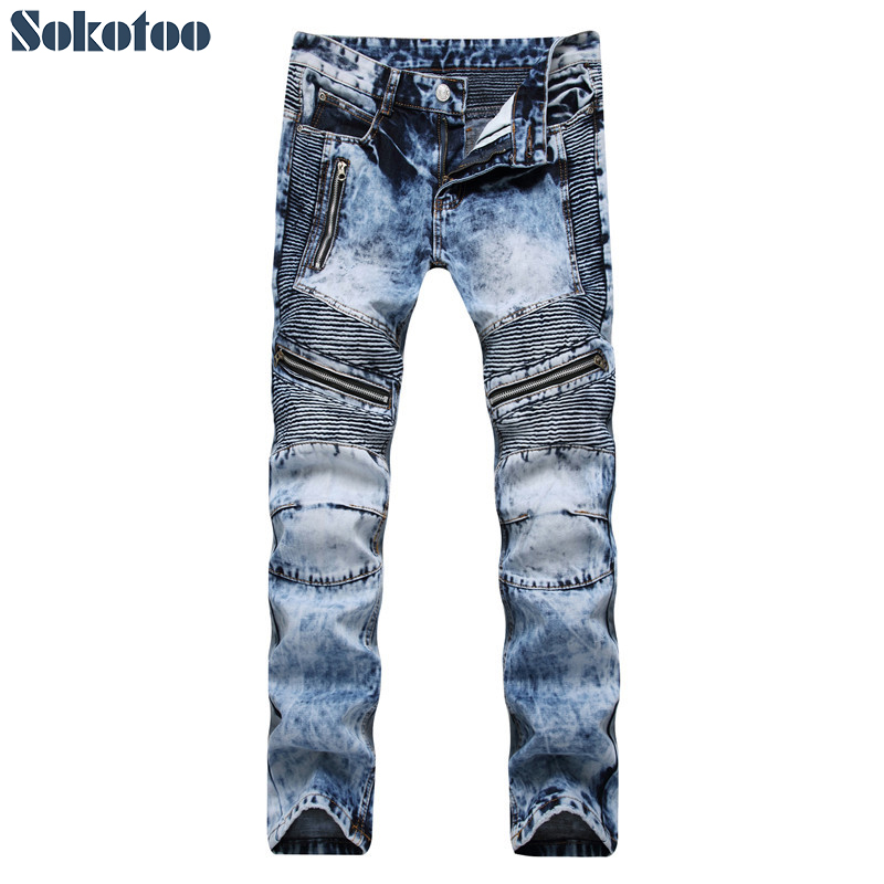 Sokotoo Mens snow washed light blue biker jeans for moto Slim straight zippers pleated denim pants