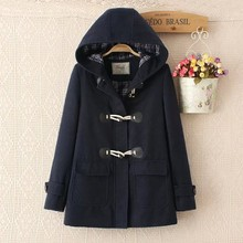 2017 New Mori Girl Autumn and Winter Preppy Style Pocket Horn Button Berber Fleece Overcoat Cotton-Padded Jacket