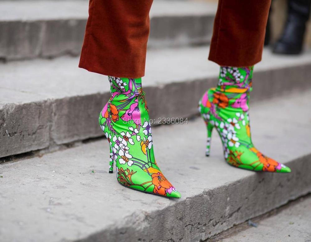 2018 Customized Fashion Runway Socks Boots Women Elastic Stilettos Floral-Print Plain Socks Boots Pointed Toe Zapato Mujer