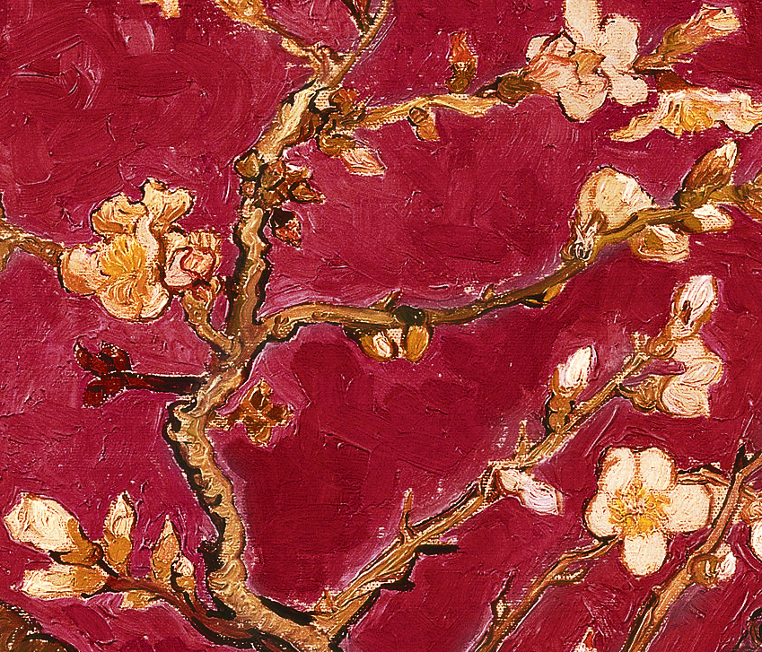 Shinehome Red Van Gogh Almond Blossom Painting Wallpaper