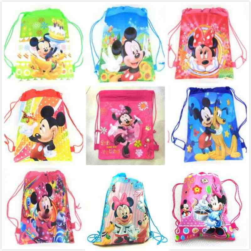 20pcs Minnie mickey non-woven bag fabric backpack child travel school bag decoration mochila drawstring gift bag
