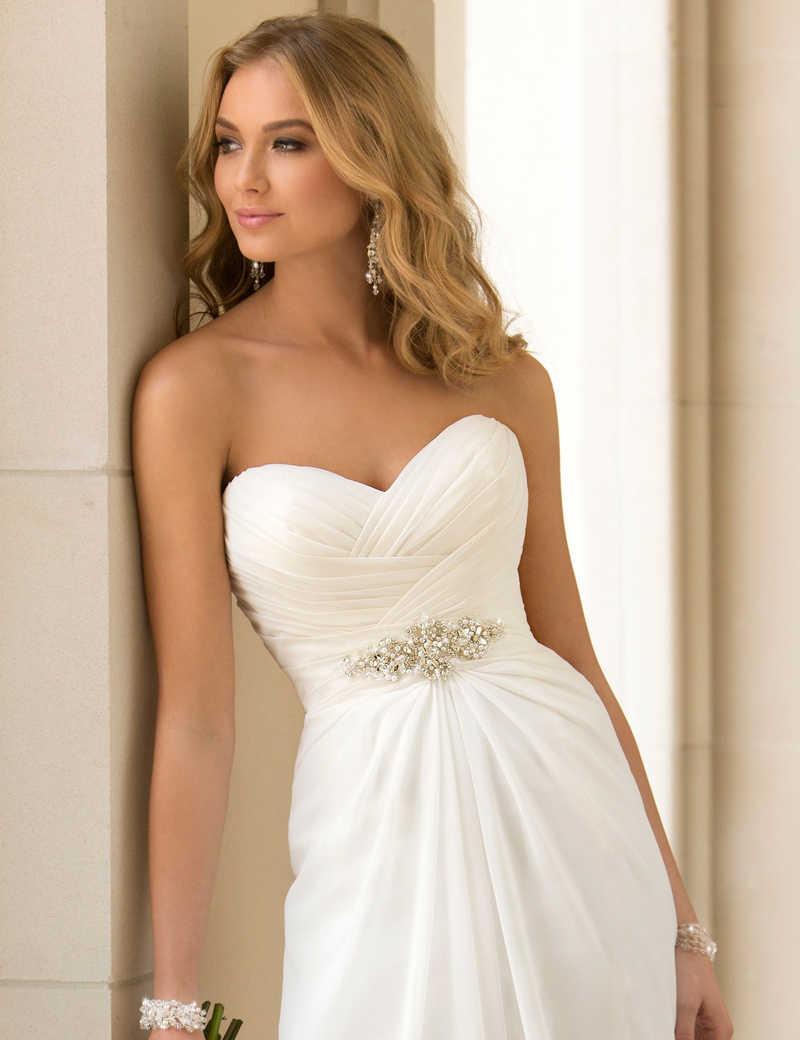 Vestidos דה Novia סקסי שיפון חוף חתונת שמלת וינטג Boho זול חתונה שמלה 2019 Robe De Mariage כלה שמלה מותאם אישית