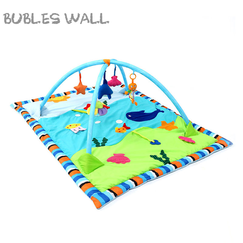 Bubles Wall Cartton Ocean Play Mat Toys Cotton Baby Game Blanket Game Pad Baby Fitness Frame