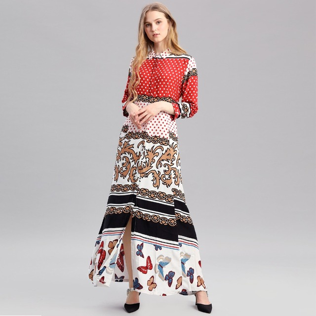 02d55975a80 Boho style long dress women long sleeve shirt dresses dot print Vintage black  maxi dress vestidos de festa muslim robe kaftan 01