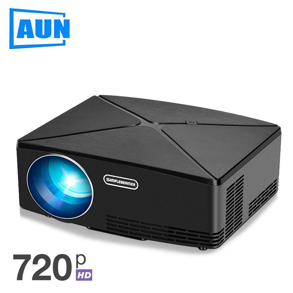 AUN Proyector C80, resolución 1280x720, 2200 lúmenes con Android WIFI HD Beamer para Home Cinema, opcional C80 MINI proyector