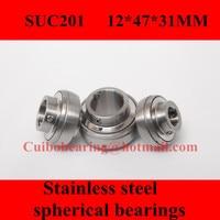 Freeshipping Stainless Steel Spherical Bearings SUC201 UC201 12 47 31mm