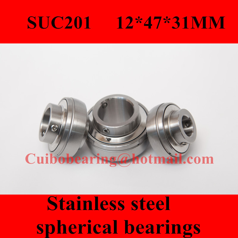 Freeshipping Stainless steel spherical bearings SUC201 UC201 12*47*31mm mochu 22213 22213ca 22213ca w33 65x120x31 53513 53513hk spherical roller bearings self aligning cylindrical bore