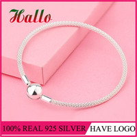 2017 New Arrival 100 925 Sterling Silver Mesh Bracelet Fit Original Beads Charm Fine Jewelry For