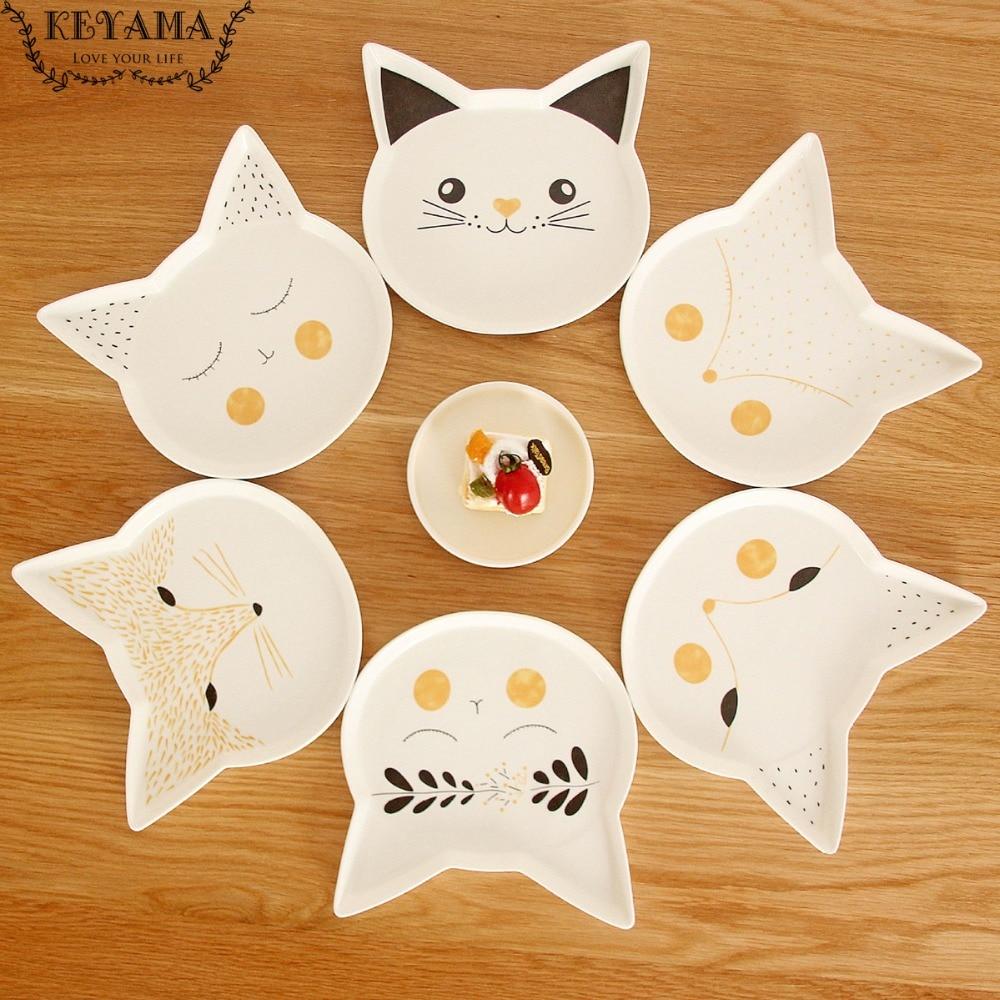 1pcs Keyama Cartoon Foxes Amp Cats Series Of Ceramic Salad