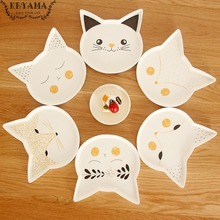 1Pcs KEYAMA Cartoon foxes&cats series of ceramic salad plates fruit plates Kitchen decorative cake pans Kids breakfast plates