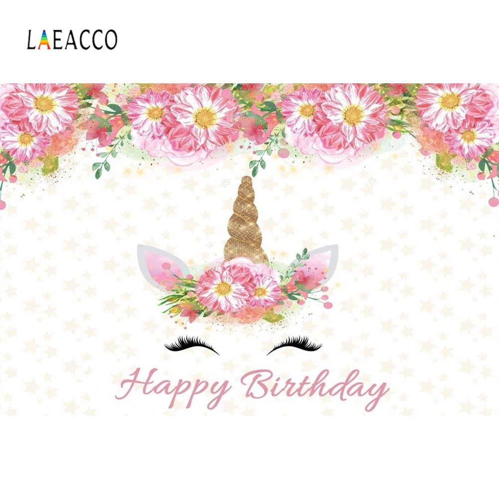 Laeacco Unicorn Birthday Eucharist Party Baby Newborn Photography Backgrounds Customized Photographic Backdrops For Photo Studio in Background from Consumer Electronics