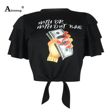 цена на Women Letter Rose Print T Shirts O Neck Ruffle Butterfly Sleeve Tie Tops Casual Summer For Ladies Sexy Club Wear Tee Shirt