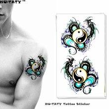 Nu-TATY Yin Yang Taichi Dragon Temporary Tattoo Body Art Flash Tattoo Stickers 17x10cm Waterproof Fake Tatoo Car Styling Sticker