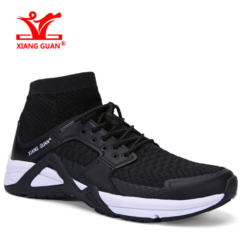 XIANG GUAN Man Running Shoe Athletic High Cut Mesh Breathable Outdoor Sneakers Light Black White Sport Shoes EUR 39-45