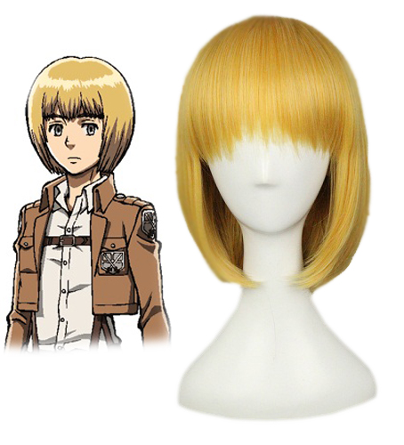 Attack On Titan Armin Arlert Short Silky Straight Boy's Shaggy Layered Yellow Bob Synthetic Cosplay Wig+ Wig Cap