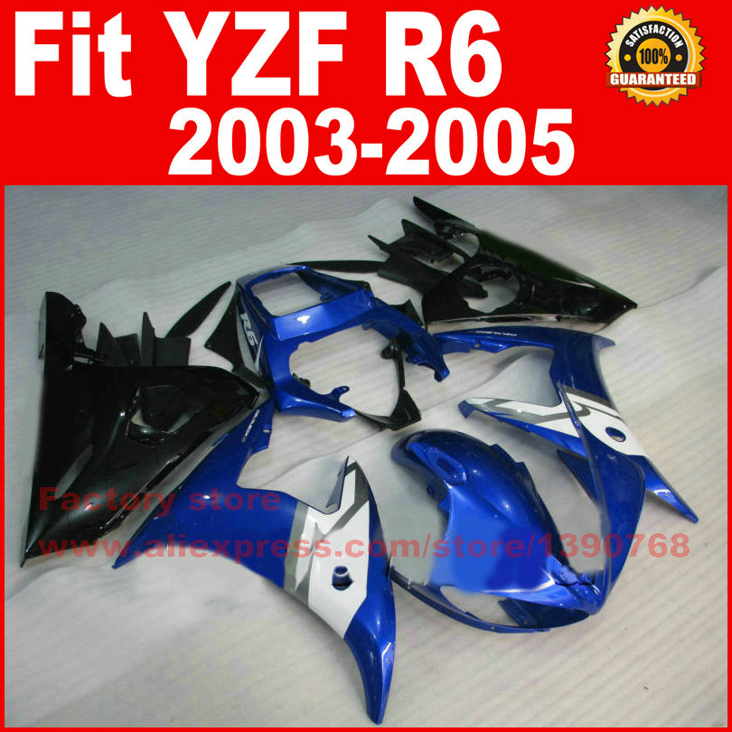 New HOT motorcycle FACTORY fairings set for YAMAHA YZF R6 2003 2004 2005 YZFR6 03 04 05 blue black fairing kits bodywork part road race motorcycle fairings kit for yamaha r6 2003 2004 2005 yzf r6 03 04 05 black silver fairing kits bodywork part