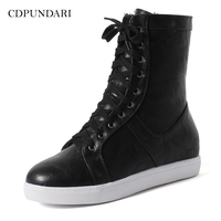 CDPUNDARI Lace Up Ankle boots for women Flat boots Ladies Winter sneakers shoes woman