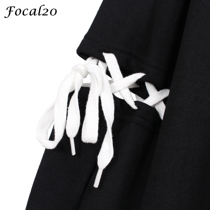Focal20 Harajuku Pentagram Print Lace Up Women Fleeces Hoodies Gothic Punk Oversize Velvet Hooded Sweatshirt Pullover Streetwear #6