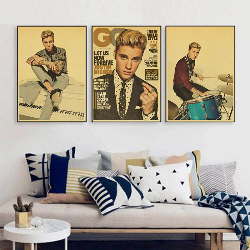 New Songs Friends Justin Bieber Vintage Paper Poster Wall Painting Home Decoration 42X30 CM 30X21 CM