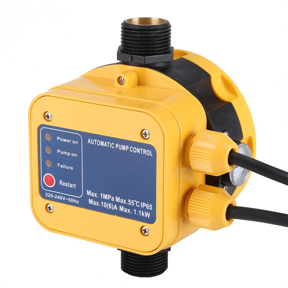 220-240 V pompe à eau électrique capteur de pression interrupteur pompe à eau contrôleur de pression automatique haute sensibilité avec manomètre