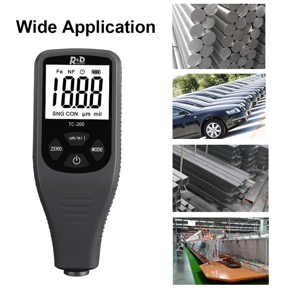 TC200 Digital Coating Thickness Gauge Mini Car Paint Compact LCD Thickness Meter with Backlight F/N Probe Metal Testering цена