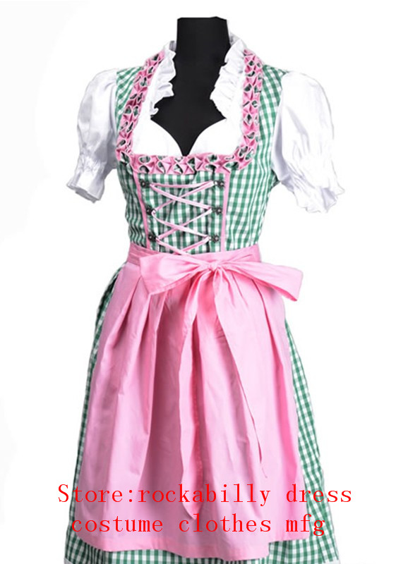 2017 New Oktoberfest Beer Maid Carnaval Festival October Dirndl Skirt Dress Apron Blouse Gown Costume Girls Women Fancy Dress