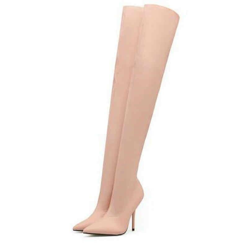 Bırak gemi YENI Bahar/Sonbahar Seksi Uyluk Yüksek Çizme Saten Streç Elastik Diz Gökyüzü İnce Yüksek Topuklu uzun Patik Ayakkabı