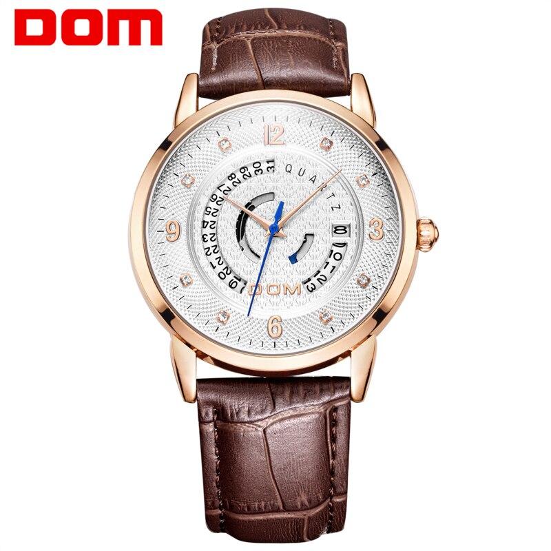 DOM fashion leather sports quartz font b watch b font for man font b military b