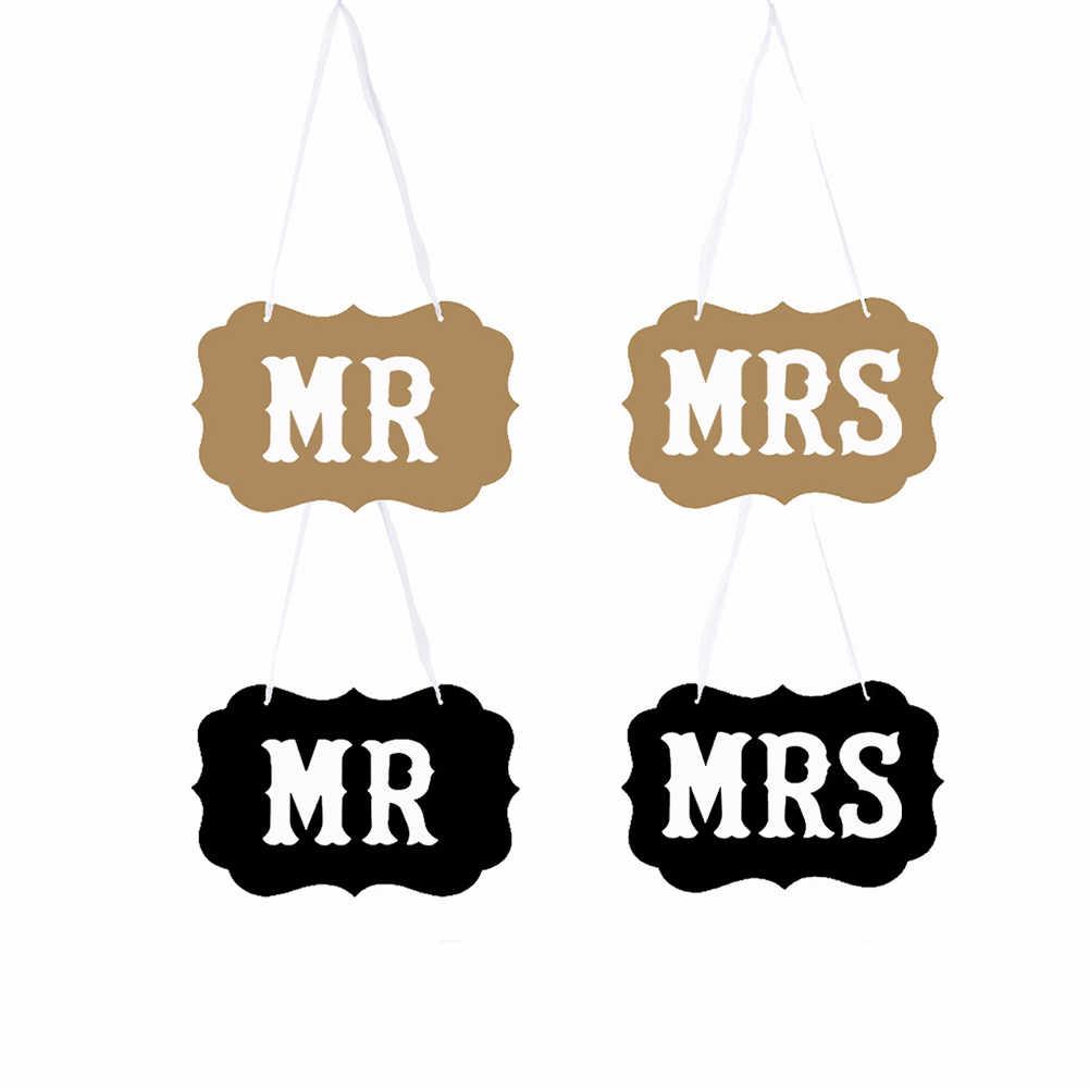 1 пара бумаги стильный многоцелевой деревенский Романтический Настольный mr Mrs фото реквизит универсальная Праздничная стул знаки Свадебный декор