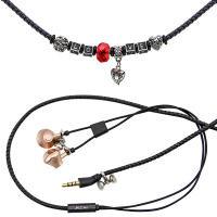 URIZONS Wired Earbuds with microphone For iphone android Black PU Braided LOVE necklace Bracelet bass music Earphones 5PCS/Lot