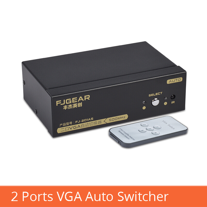 2-port VGA HD Smart Switcher 2 In 1 Out With Remote Control Switch Computer Projector Display Converter FJ-201AS