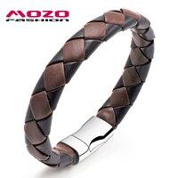 MOZO FASHION Men Bracelet Woven Leather Rope Handmade Bracelet Stainless Steel Magnetic Clasps Bracelets Vintage Jewelry