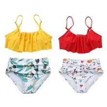Swimwear Women Print Push-up Floral Ruffle Surf Suit Swimsuit Two-pieces Set Bikini Bathing Swimming Plus Size Swimwear Pro plus size print ruffle bikini set