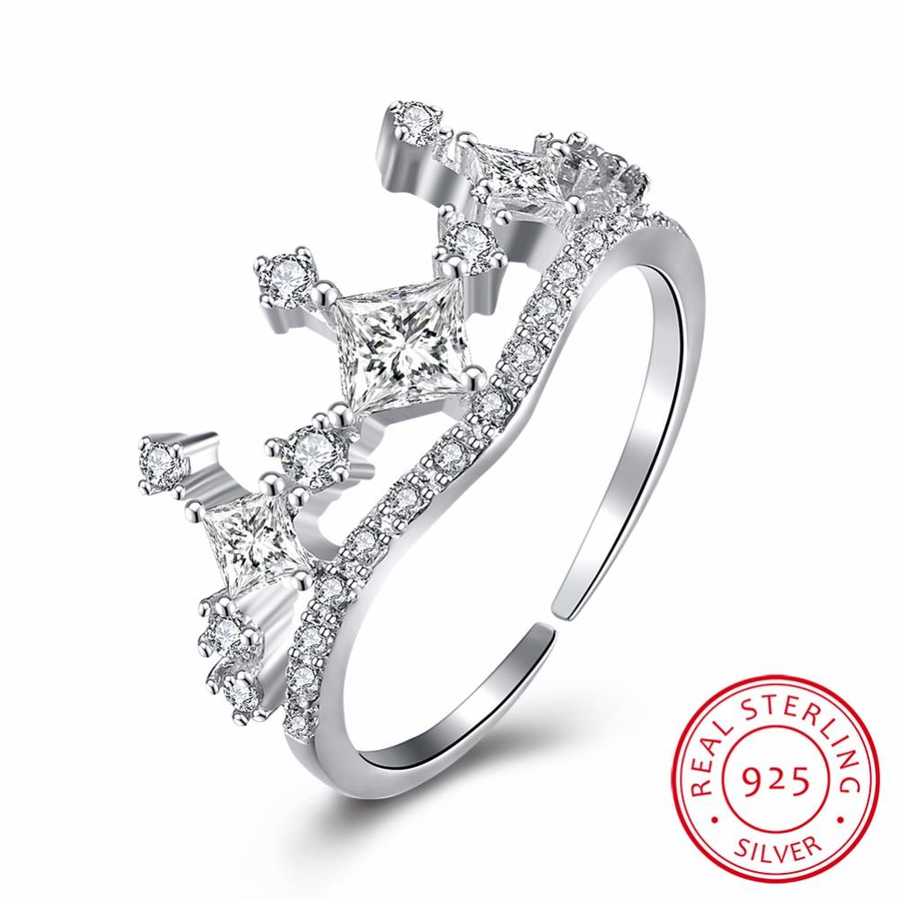 925 Sterling Silver My Princess Queen Crown Engagement Ring With Clear Cz  Authentic Sterlingsilver