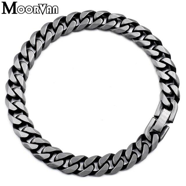 Moorvan Jewelry Men Bracelet Cuban links & chains Stainless Steel Bracelet for Bangle Male Accessory Wholesale B284 2