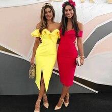 فستان مثير باللون الأصفر المميز برفرف مكشوف الأكمام