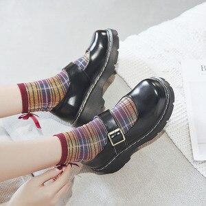 Image 4 - 2019 ใหม่มาถึงสไตล์ญี่ปุ่น Vintage Mary Janes รองเท้าสตรีตื้นปากรองเท้าลำลองนักเรียนรองเท้าหนังหนาด้านล่าง