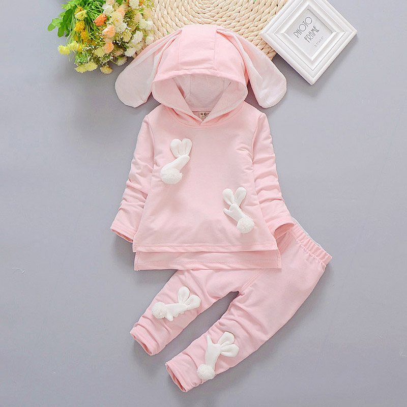 2 pcs 2017 brand baby sets Baby boy girl autumn winter clothing cute Rabbit ears hoodie+pants suit casual clothing