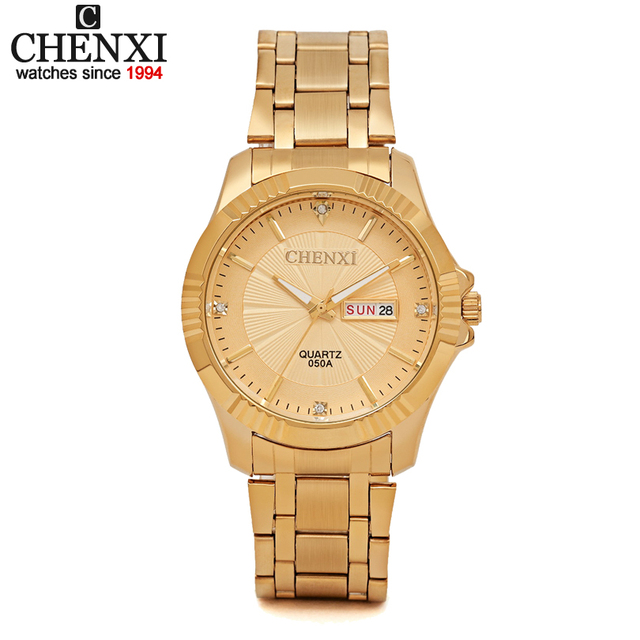 CHENXI Brands High-Quality Watches Couple Quartz Stainless Steel Gold Watch Men