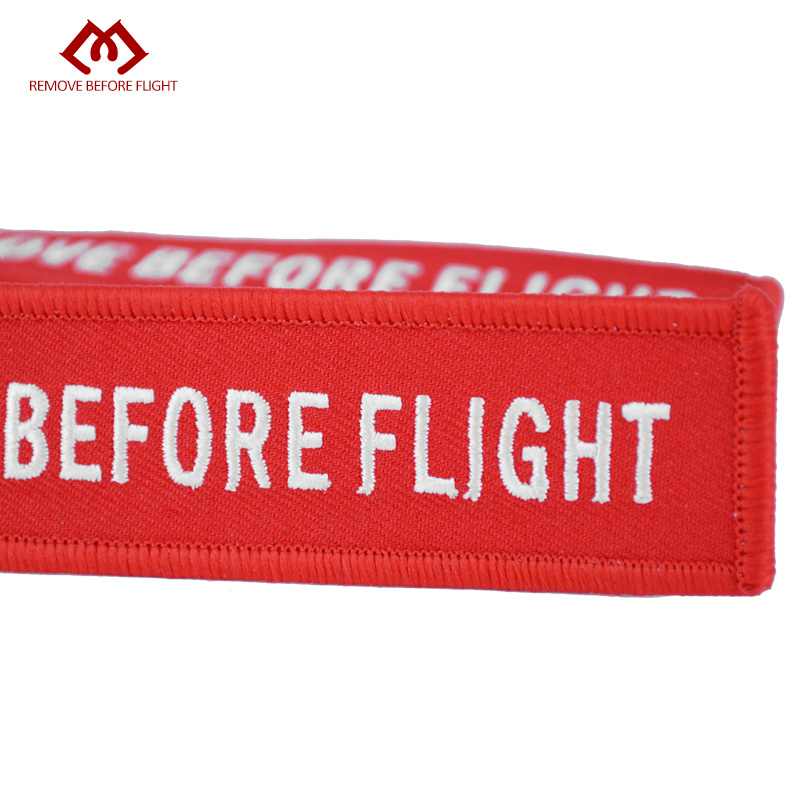 Remove Before Flight Red Embroidery Key Chains Special Luggage Tag Label Key Ring Chain for Aviation Gifts OEM Key Chain Jewelry (4)