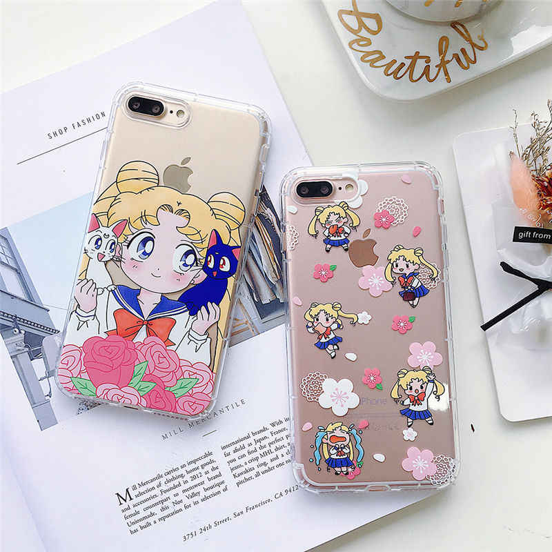 Sailor Moon Girl Phone Case for iphone 6 7 8 6S PLUS Transparent Silicone TPU Clear Capinha Fundas for iphone X XR XS MAX cover